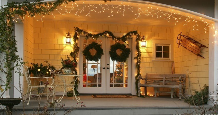 Christmas decoration around an entrance door